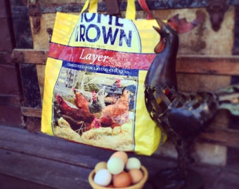 Upcycled, repurposed feed sack market bag