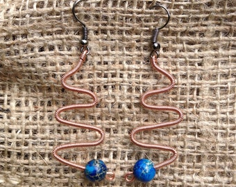 Twisted Copper and Bead Switchback Earrings