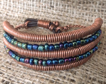 Twisted Copper and Sea Colored Glass Bead Bracelet