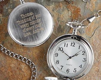 Herrington Engraved Silver Pocket Watch
