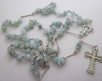 Green Ammozonite Gemstone, Baptism, Communion, 5 Five Decade Rosary, Religious Gift, Catholic, Spiritual, Rosary, Prayer Beads