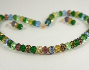 Multi Color Czech crystal beads necklace set