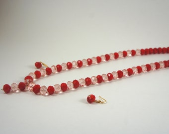 Red Czech crystal beads necklace set