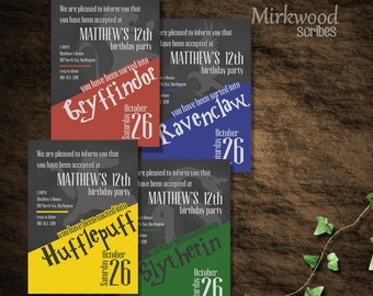 Harry Potter Birthday Invite  |  Sort your friends into Hogwarts Houses!  |  Gryffindor, Ravenclaw, Hufflepuff, Slytherin  |  Digital