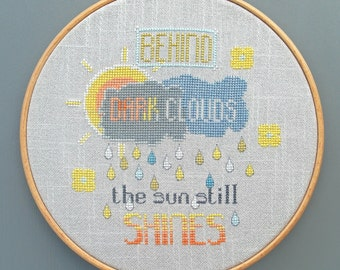 Behind Dark Clouds - PDF Cross stitch chart / pattern - Instant download.