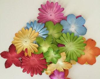 25 Count of Petaloo Flora Doodles Paper Flowers in Brites Colors, Card Making Flowers, Scrapbooking Flowers, Finishing Flowers
