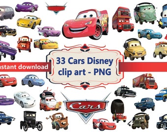 INSTANT DL- 33x Disney Cars Clipart - printable Digital Clipart Graphic Instant Download