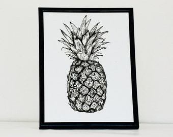 Pineapple Print, Pen and Ink Illustration, Black and White, 8x6inch