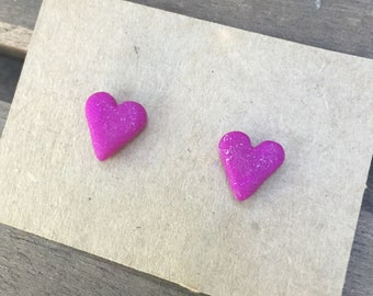 Polymer Clay heart earring studs