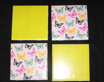 Butterfly Ceramic Coasters, set of 4