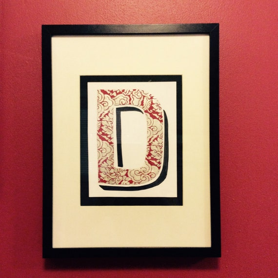 Silver Letters Wall Decor : Custom made framed red and silver letter wall art