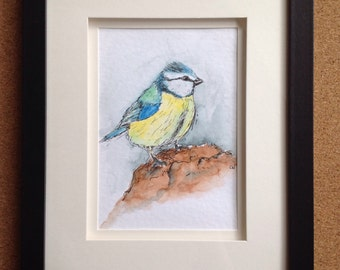 Framed Original Ink & Watercolour Painting - Blue Tit - Birthday - Christmas gift