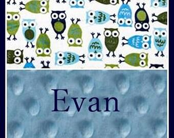 Personanlized Baby Boy Owls Minky Blanket~Nursery and Crib~Shower Gift~Stroller Blanket~Name~