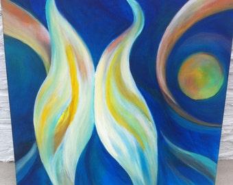 Original Acrylic Abstract Painting-Uccello di Mattina
