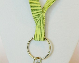 Green Palm Frond Fabric Lanyard
