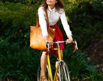Leather Tote Bag - Camel brown leather tote bag - large leather bag - supple brown leather tote Tote Bag KINSHASA.