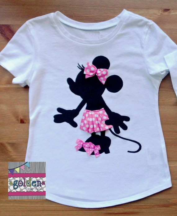 Minnie Mouse Disney inspired Silhouette Skirt and Bows Tee