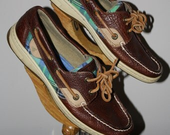 Vintage 80s Sperry Topsider Boat Oxord Plaid Brown Women's 7 Preppy Resort