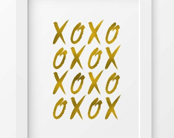 XO print, hugs and kisses, printable art, XO wall art,home decor, typography print, print, wall art, gold, gold foil, instant download