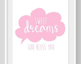"Pink ""Sweet Dreams"" print, Sweet Dreams, Kids wall art, Sweet Dreams poster, Girls Nursery print, Girls Bedroom decor, Baby Shower Gift"