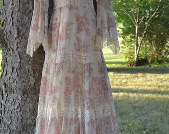Vintage 70's Fall Floral Festival Hippie Maxi Dress With Angel Sleeves Size 9