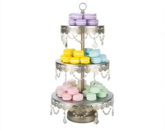 Silver 3 Tier Crystal Cupcake Stand, 3 Tier Cake Stand, Crystal, Tiered Cupcake Stand, Wedding Cake Stand, Dessert Stand, Cake Pedestal