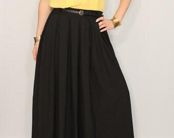 Chiffon palazzo pants Black pant skirt Casual pants