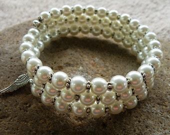 Elegant Pearl & Silver 3 Strand Memory Wire Bracelet