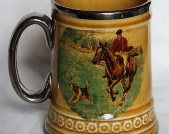 1950s/60s Treacle Glazed Semi Porcelain Tankard with Hunting Scenes by Ridgways