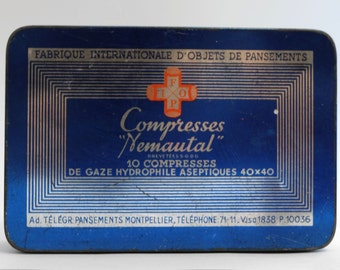 "Box metal ""Nemautal Compresses"" 1950s"