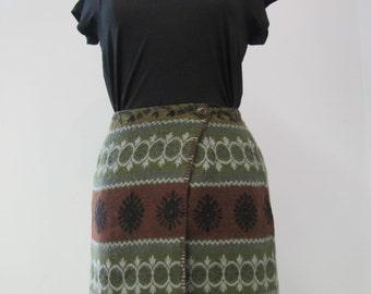 Vintage 1970s Autumnal Wrap Skirt