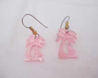 palm tree earrings pink dangle island jewelry vintage 80s