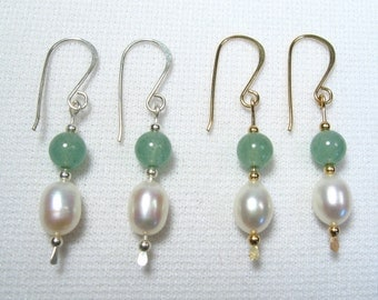 Lyn's Jewelry Aventurine and Freshwater Pearl Drop Earrings Silver or Gold