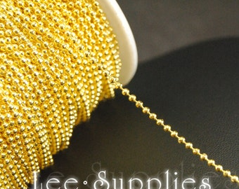 16ft(5m) 2mm Gold Plated Metal Brass Ball Necklace Chain C58