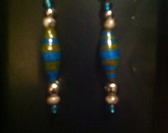 Hand Made Paper and Glass Bead dangle earrings