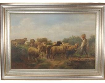 1900 Oil Painting Shepherd Boy w Sheep Joseph 'Joe' Schmiedl Wisconsin Artist