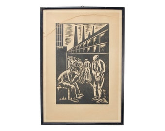 1932 German Expressionist Woodblock Print Factory Workers pencil signed Stein