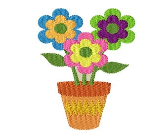 Cheerful Flowers-Machine Embroidery Design