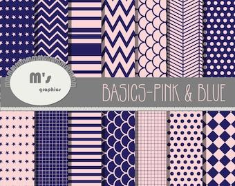 Basics Pink Blue. Polka Dots Chevron Stripes Herringbone Stars . 14 Digital papers handmade and 2 backgrounds (pink & blue) for scrapbook