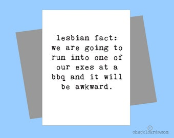 Lesbian Exes, Love Card, Card for Her, Funny Card, Lesbian Card, Gay Card, LGBT