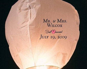 Just Married Sky Lantern + 9 White Lanterns (justmarried01)