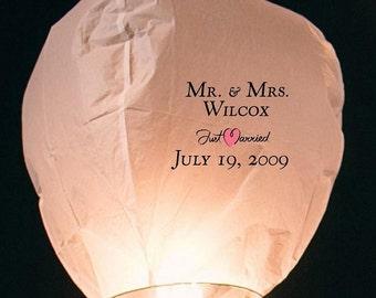 Just Married Sky Lantern + 9 White Lanterns (justmarried01)