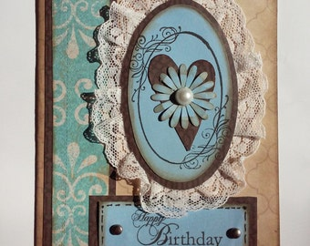 Happy Birthday Card, Birthday Card, Feminine Card, Birthday Greeting Card