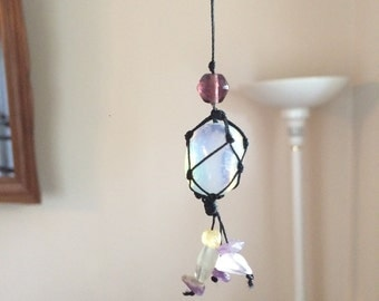 Opal Macrame Knotted Crystal Healing Necklace