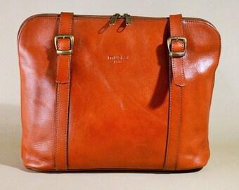 Vintage Brown Leather Muska Paris Tote Bag, Office Bag