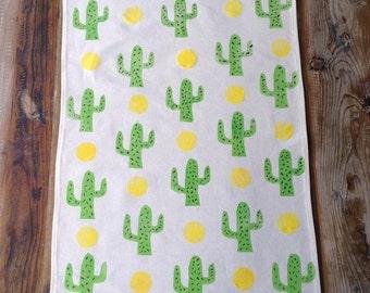 Tea Towel - Green Cactus Tea Towel - Block printed tea towel - Beige cotton tea towel