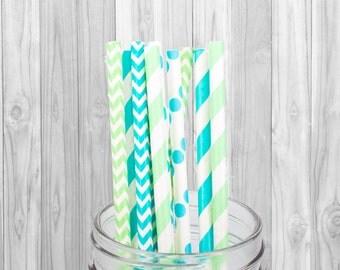 Blue and Green Paper straw - Birthday Party decoration - Wedding - Baby Shower - Mason Jar Straw - Baptism - 25 pcs