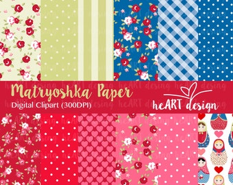 Matryoshka Digital Paper / Digital Paper for Commercial and Personal Use / INSTANT DOWNLOAD