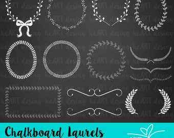 Chalkboard Laurels Clipart / Digital Clip Art for Commercial and Personal Use / INSTANT DOWNLOAD