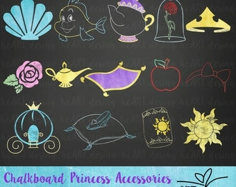Chalkboard Princess Accessories Clipart / Digital Clip Art for Commercial and Personal Use / INSTANT DOWNLOAD